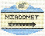 523 Miacomet Sign Ornament 2.5 x 3.5 18 Count Silver Needle Designs