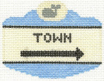 540 Town Sign Ornament 2.5 x 3.5 18 Count Silver Needle Designs