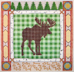 556 Moose Silhouette 9.25 x 9.25 13 Count Silver Needle Designs
