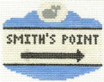 536 Smith's Point Sign Ornament 2.5 x 3.5 13 Count Silver Needle Designs
