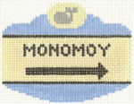 524 Monomoy Sign Ornament 2.5 x 3.5 18 Count Silver Needle Designs