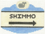 534 Shimmo Sign Ornament 2.5 x 3.5 18 Count Silver Needle Designs