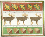 554 Moose Sampler 7.5 x 6.25 13 Count Silver Needle Designs