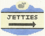 520 Jetties Sign Ornament 2.5 x 3.5 18 Count Silver Needle Designs