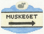 525 Muskeget Sign Ornament 2.5 x 3.5 18 Count Silver Needle Designs