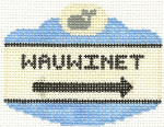 542 Wauwinet Sign Ornament 2.5 x 3.5 18 Count Silver Needle Designs