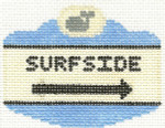 538 Surfside Sign Ornament 2.5 x 3.5 18 Count Silver Needle Designs