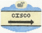 515 Cisco Sign Ornament 2.5 x 3.5 18 Count Silver Needle Designs