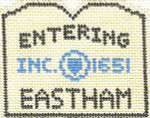 576 Eastham Sign Ornament 2.5 x 3 18 Count Silver Needle Designs