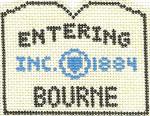 572 Bourne Sign Ornament 2.5 x 3 18 Count Silver Needle Designs