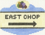 650 East Chop Sign Ornament 2.5 x 3.5 18 Count Silver Needle Designs
