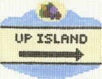660 Up Island Sign Ornament 2.5 x 3.5 18 Count Silver Needle Designs