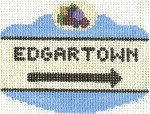 651 Edgartown Sign Ornament 2.5 x 3.5 18 Count Silver Needle Designs