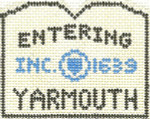 588 Yarmouth Sign Ornament  2.5 x 3 18 Count Silver Needle Designs