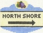 656 North Shore Sign Ornament 2.5 x 3.5 18 Count Silver Needle Designs