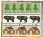 553 Bear Sampler 7.5 x 6.25 13 Count Silver Needle Designs