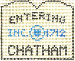 574 Chatham Sign Ornament 2.5 x 3 18 Count Silver Needle Designs