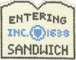 584 Sandwich Sign Ornament 2.5 x 3 18 Count Silver Needle Designs