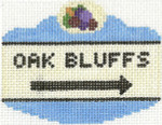 657 Oak Bluffs Sign Ornament 2.5 x 3.5 18 Count Silver Needle Designs
