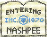 580 Mashpee Sign Ornament  2.5 x 3 18 Count Silver Needle Designs