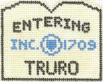 585 Truro Sign Ornament 2.5 x 3 18 Count Silver Needle Designs