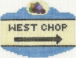 662 West Chop Sign Ornament 2.5 x 3.5 18 Count Silver Needle Designs