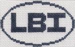 722 LBI (Long Beach Island, NJ) Oval Ornament5 x 3 13 Mesh Silver Needle Designs