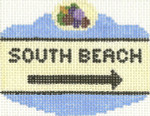 658 South Beach Sign Ornament 2.5 x 3.5 18 Count Silver Needle Designs