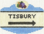 659 Tisbury Sign Ornament 2.5 x 3.5 18 Count Silver Needle Designs
