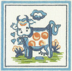 H02 Cow 11 x 11 13 Count Hadley Pottery Silver Needle Designs