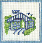 H31 Small Covered Bridge 5 x5 18 Count Hadley Pottery Silver Needle Designs