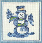 H09 Snowman 11 x 11 13 Count Hadley Pottery Silver Needle Designs