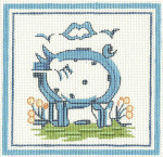 H05 Pig 11 x 11 13 Count Hadley Pottery Silver Needle Designs