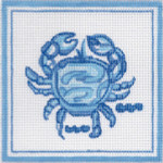 H28 Crab 11 x 11 13 Count Hadley Pottery Silver Needle Designs
