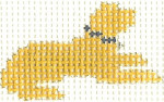 "M12 Yellow Lab ""LAY DOWN"" Mini 2 x 2.5 13 Count Silver Needle Designs"