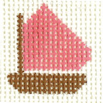 M22 Pink Boat Mini 2 x2 13 Count Silver Needle Designs