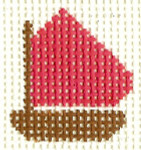 M23 Hot Pink Boat Mini 2 x2 13 Count Silver Needle Designs