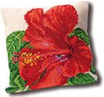 "GOK4005 Thea Gouverneur Kit Hibiscus Pillow 15"" x 15""; Canvas; 10ct"