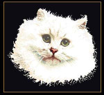 "GOK1045B Thea Gouverneur Kit White Persian Cat 17"" x 17""; Aida; 18ct"