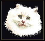 "GOK1045B Thea Gouverneur Kit White Persian Cat 17"" x 17""; Aida; 18ct"