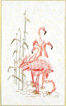 "GOK1070 Thea Gouverneur Kit Feeding Flamingos 15"" x 26""; Linen; 30ct"