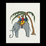 "GOK1041 Thea Gouverneur Kit Elephant 7"" x 6""; Linen; 32ct"