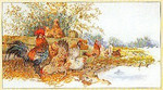 """GOK2038 Thea Gouverneur Kit Chickens In A Field 27"""" x 15""""; Linen; 30ct"""