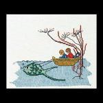 "GOK1044 Thea Gouverneur Kit Boat w/Fish 7"" x 6""; Linen; 32ct"