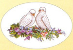"GOK922 Thea Gouverneur Kit Dove Lovebirds 14"" x 10""; Linen; 25ct"