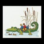 """GOK1043 Thea Gouverneur Kit Crocodile 7"""" x 6""""; Linen; 32ct"""
