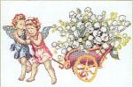 "GOK920 Thea Gouverneur Kit Cherubs Pulling Cart 16"" x 12""; Linen; 25ct"