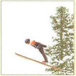 "GOK3039 Thea Gouverneur Kit Ski Jumping; Thea Gouverneur 6"" x 6-1/2""; Linen; 36ct"