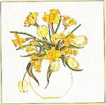 "GOK1063 Thea Gouverneur Kit Daffodil Bouquet 15"" x 15-1/2""; Linen; 30ct"