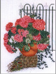 "GOK2036 Thea Gouverneur Kit Rose Hydrangea With Fence 18"" x 24""; Linen; 30ct"